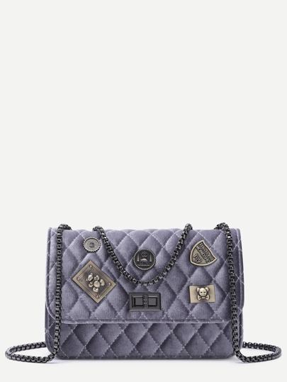 Purple Grey Embellished Boxy Quilted Crossbody Chain Bag