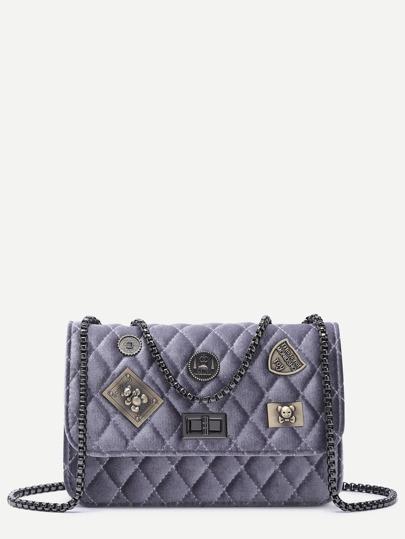 Bolso guateado con parche y cadena - violeta