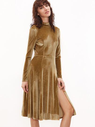Mustard Mock Neck Slit Front Open Back Velvet Dress
