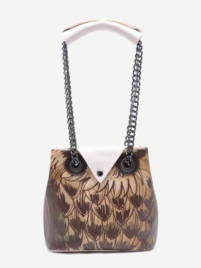 Beige Night Owl Design Button Closure Chain Strap Tote Bag