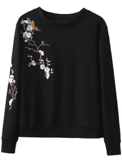 Black Plum Embroidery Casual Sweatshirt