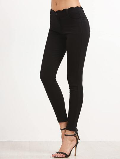Black Scallop Waist Skinny Ankle Pants