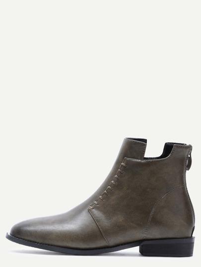 оливково-зелёные модные ботинки с молнией