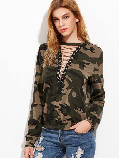 Olive Green Camo Print Lace Up V Neck Sweatshirt