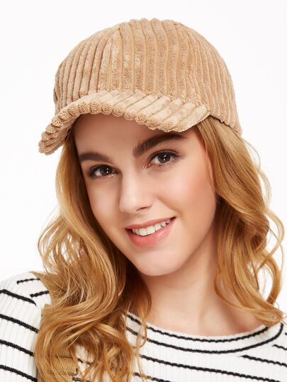 Light Camel Thick Corduroy Ribbed Warm Cap