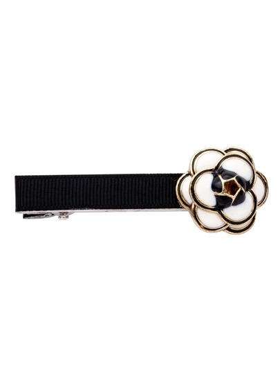 Black And White Enamel Flower Hair Clip