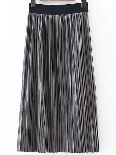 Grey Elastic Waist Pleated Long Skirt