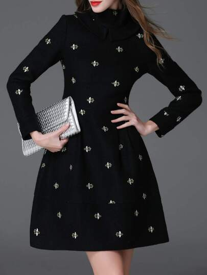 Black Collar Bees Embroidered A-Line Dress