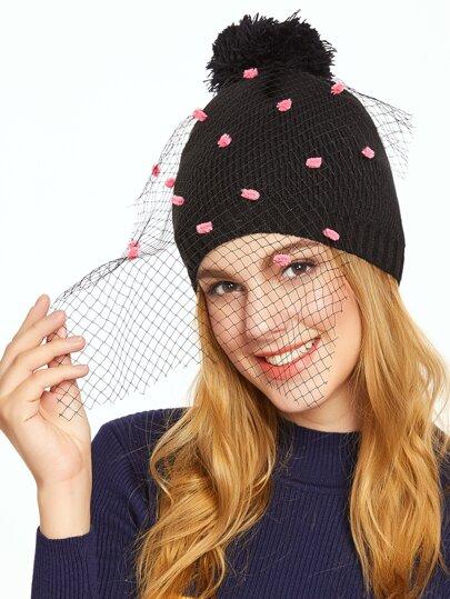 Bonnet tricoté avec Pom-Pom et voile - noir