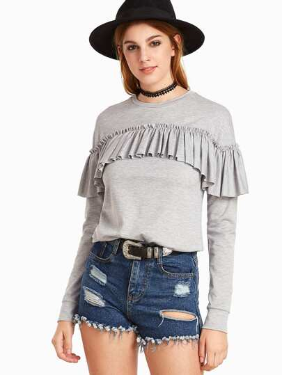 Heather Grey Ruffle Trim Long Sleeve Sweatshirt