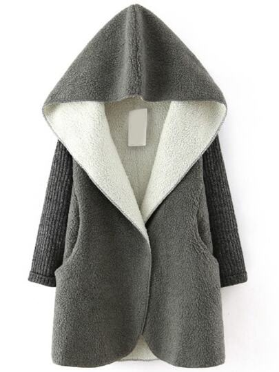 Grey Hooded Faux Shearling Coat With Knit Sleeve