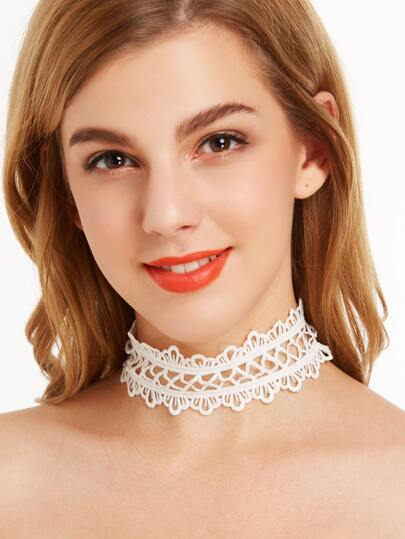 White Classic Hollow Out Floral Lace Choker