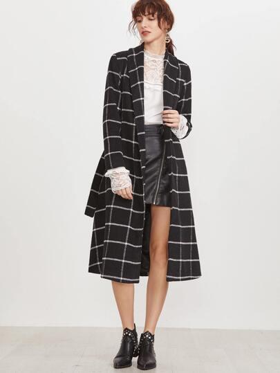 Black Grid Shawl Collar Longline Wrap Coat