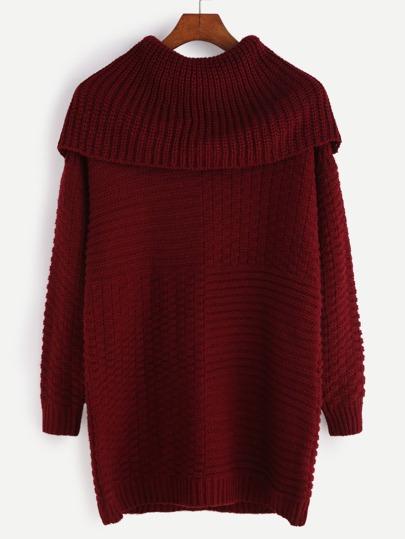 Pull tricoté mélangé manche longue - bordeaux
