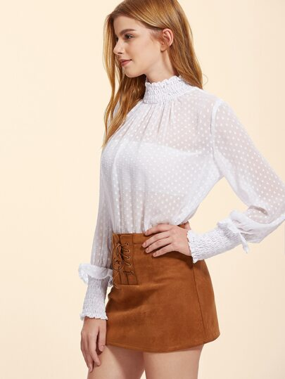 Sheer Dotted Blouse With Shirring