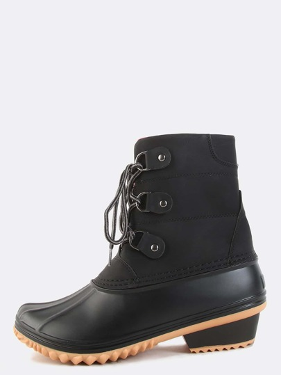 Block Heel Fleece Duck Boots BLACK