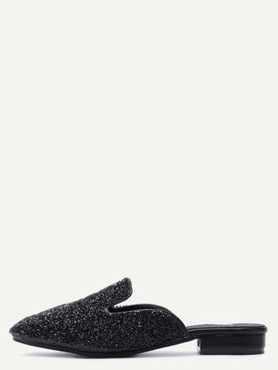 Glittery Black Sequin Loafer Slippers