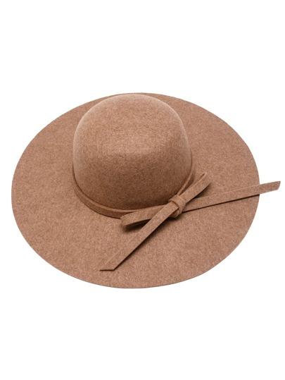 Camel Bow Trim Wide Brimmed Felt Hat