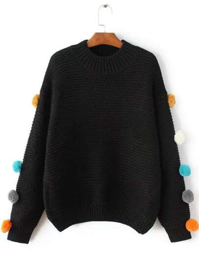 Black Crew Neck Pom Pom Sweater