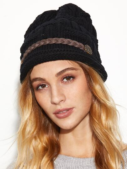 Black Braided Band Knit Textured Beanie Hat