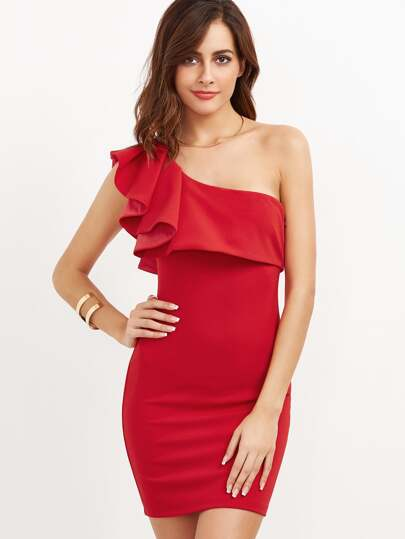 Red Ruffle One Shoulder Bodycon Dress