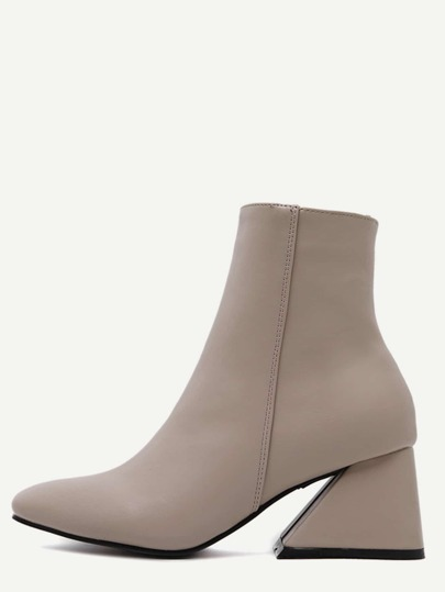 Nude Pink Square Toe Geometric Heel Zip Side Boots