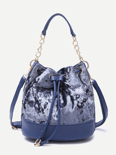 Blue PU Trim Drawstring Velvet Bucket Bag