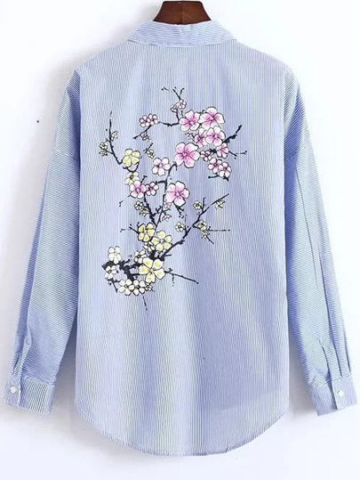 Blue Striped Floral Embroidery High Low Blouse With Pocket