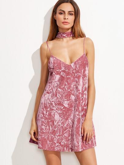 Vestido de terciopelo con tirantes y - rosa