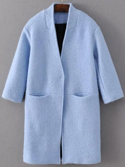 Blue Hidden Button Pocket Wool Blend Coat
