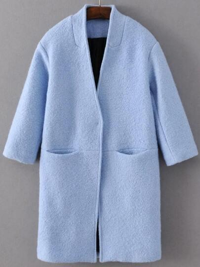 Abrigo de mezcla de lana con botón oculto - azul