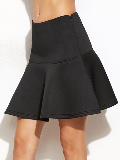 Black Drop Waist Flared Skirt