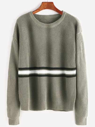 Olive Green Drop Shoulder Striped Sweater