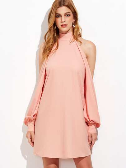 Pink High Neck Split Bishop Sleeve Dress
