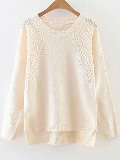 Beige Hollow Out Drop Shoulder Dip Hem Sweater