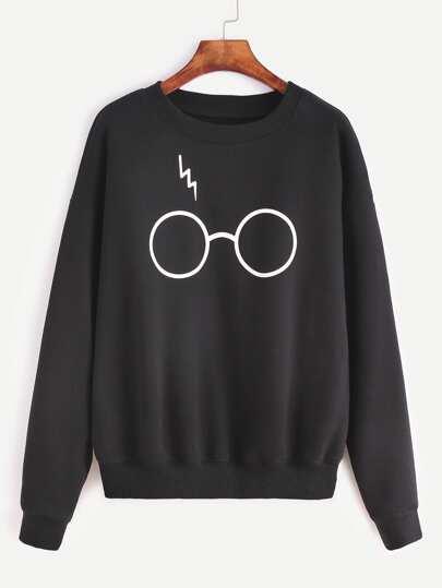 Sweat-shirt imprimé lunettes - noir