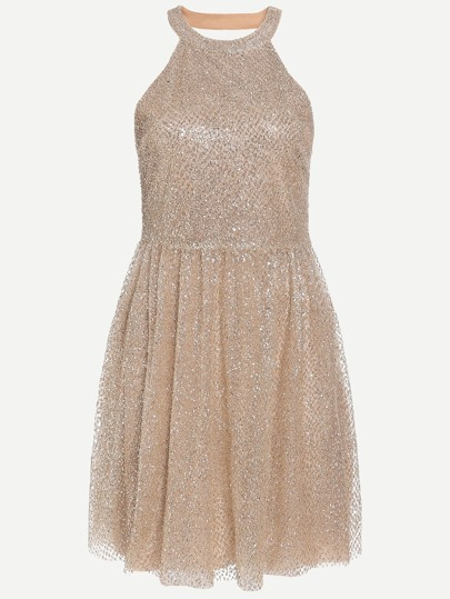 Halter Sequins Embedded Pleated Dress