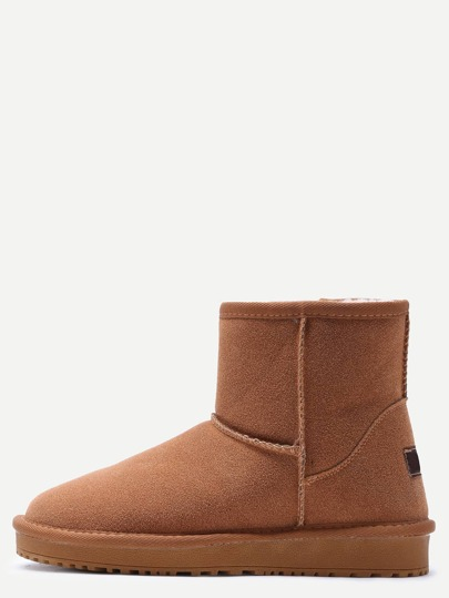 Camel Suede Fur Lined Flat Snow Boots
