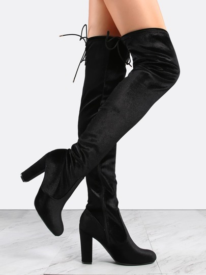 Smooth Velvet Thigh High Boots BLACK