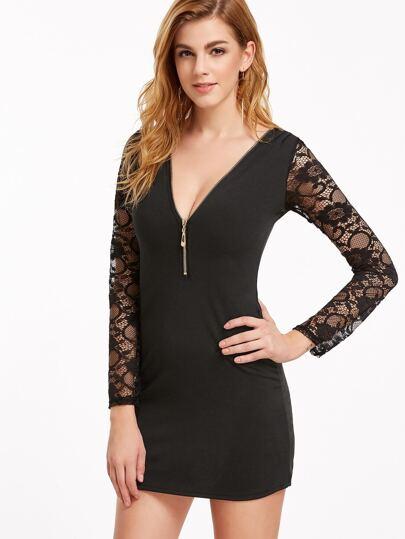 Deep V Neck Contrast Lace Sleeve Zipper Detail Dress