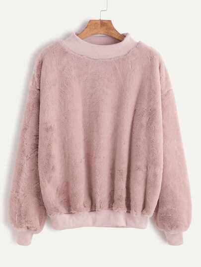 Flaumige Sweatshirt Drop Schulter kontrast gerippte Saum