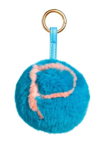 Schlüsselanhänger mit Bommel Buchstaben Muster-blauer See