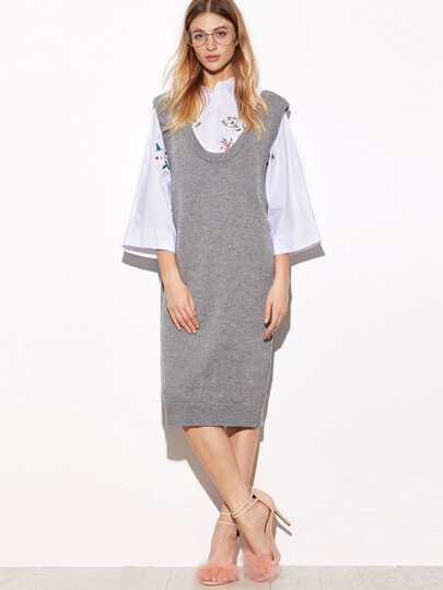 Grey Pinafore Shift Sweater Dress