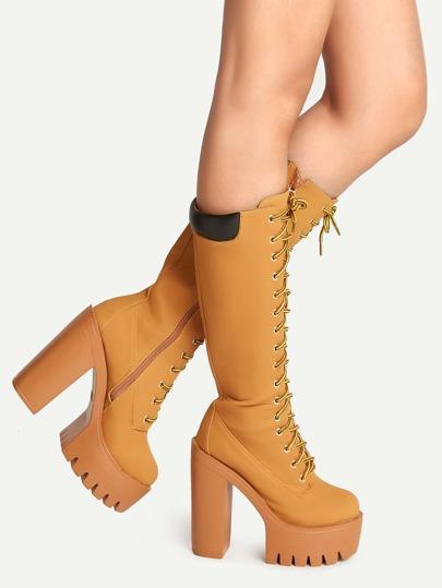 Абрикосные модные сапоги на платформе