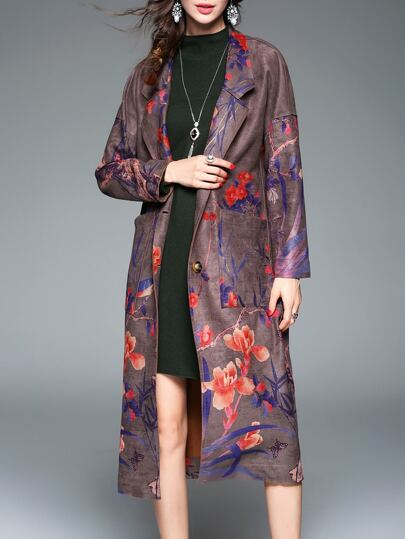 Multicolor Lapel Flowers Print Coat