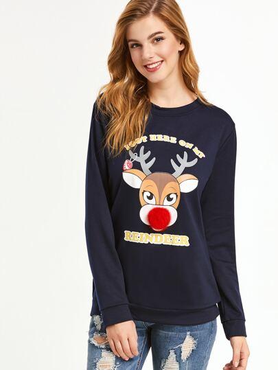 Navy Reindeer Print Pom Pom Trim Sweatshirt