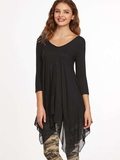 Plunging Contrast Chiffon Layered Top