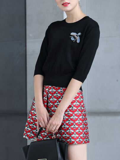 Black Knit Sweater Top With Bee Print Skirt