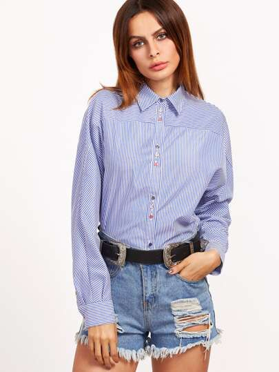 Blue And White Striped Pointed Collar Button Up Blouse