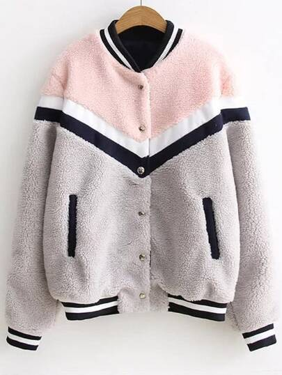 Color Block Striped Trim Faux Shearling Jacket